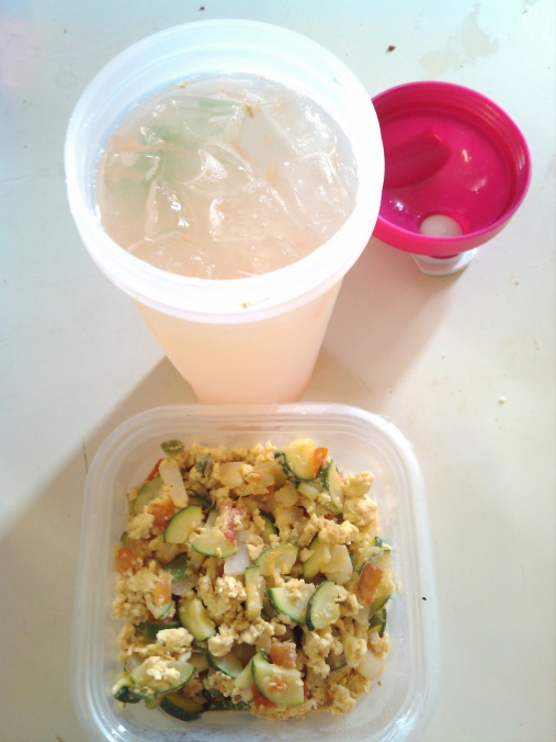 zucchini omelet, fresh grapefruit, lime and ice water.