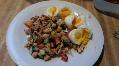 Eggs and a cucumber-quinoa-chickpea salad