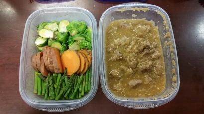 Chile Verde Pork and steamed veggies